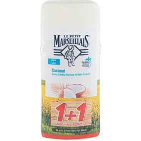 Αφρόλουτρο LE PETIT MARSEILLAIS coconut (1+1 δώρο) (2x650ml)