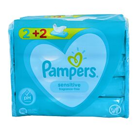 Μωρομάντηλα PAMPERS sensitive 2+2  ΔΩΡΟ (4x52τεμ.)
