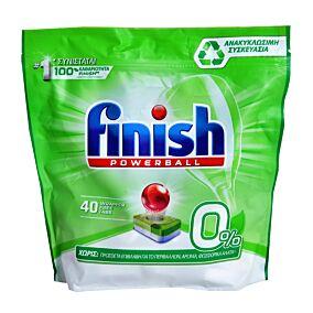 Απορρυπαντικό FINISH πλυντηρίου πιάτων 0%, σε κάψουλες (40τεμ.)