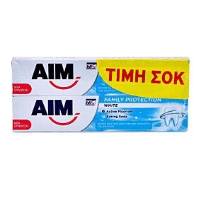 Οδοντόκρεμα AIM white family protection (2x75ml)