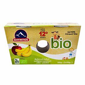 Παιδικό γιαούρτι ΟΛΥΜΠΟΣ βιολογικό με μήλο και μπανάνα (2x150g)