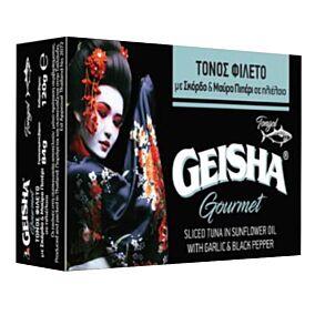 Κονσέρβα GEISHA τόνος καπνιστός με πιπέρι και σκόρδο (120g)