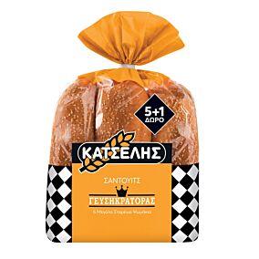 Ψωμί ΚΑΤΣΕΛΗΣ για sandwich 5+1 ΔΩΡΟ (564g)