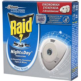 Εντομοαπωθητικό RAID night & day διπλό ανταλλακτικό (1τεμ.)