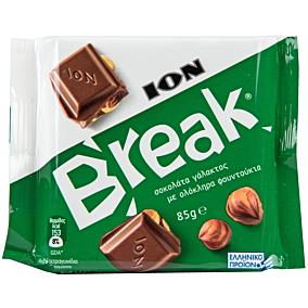 Σοκολάτα ΙΟΝ Break γάλακτος με ολόκληρα φουντούκια (85g)