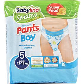 Πάνες BABYLINO Sensitive Pants Boy No.5, 12-18kg (18τεμ.)