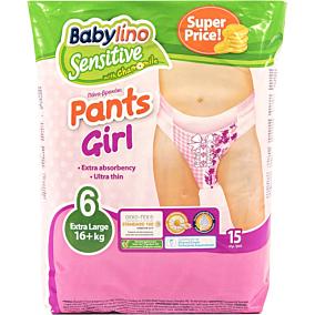 Πάνες BABYLINO Sensitive Pants Girl No.6, 16kg+ (15τεμ.)