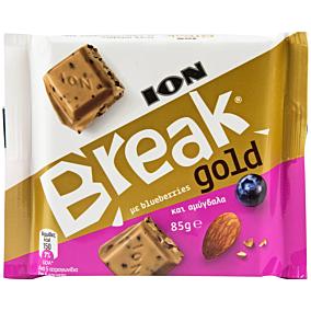 Σοκολάτα ΙΟΝ Break Gold γάλακτος με blueberries και αμύγδαλα (85g)