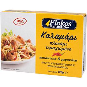 Κονσέρβα FLOKOS καλαμάρι πλοκάμι τεμαχισμένο πικάντικο και ριγανάτο (120g)