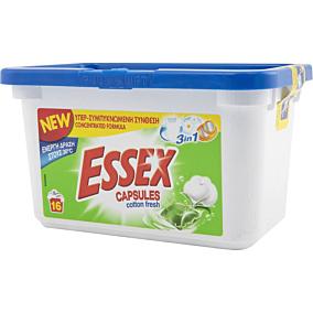 Απορρυπαντικό ESSEX cotton fresh 3 σε 1 πλυντηρίου ρούχων, σε υγρές κάψουλες (16τεμ.)