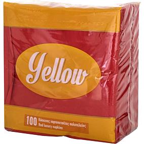 Χαρτοπετσέτες YELLOW κόκκινες 33x33cm (100τεμ.)
