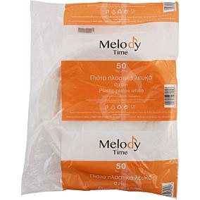 Πιάτα MELODY TIME PS πλαστικά λευκά 21cm (50τεμ.)