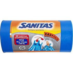 Σακούλες απορριμμάτων SANITAS γίγας με λαβές 75x115cm (20τεμ.)