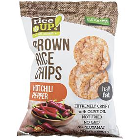 Ρυζογκοφρέτα RICE UP Brown Rice Chips ολικής άλεσης με καυτερή πιπεριά τσίλι (60g)