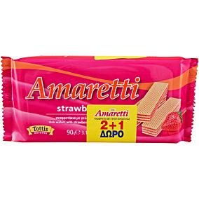 Γκοφρέτα AMARETTI με κρέμα φράουλα 2+1ΔΩΡΟ (3x90g)