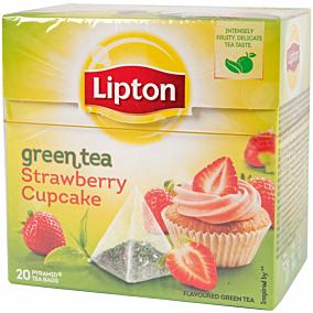Τσάι LIPTON πράσινο με άρωμα φράουλα cupcake πυραμίδα (20x1,4g)