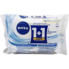 Μαντηλάκια ντεμακιγιάζ NIVEA daily essentials 3 in 1 refreshing cleansing wipes (2τεμ.)