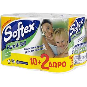 Χαρτί υγείας SOFTEX Pure & Soft (12τεμ.)