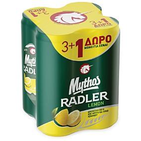 Μπύρα MYTHOS radler λεμόνι 3+1 (4x330ml)