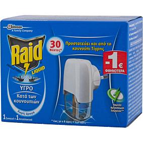 Εντομοαπωθητικό RAID υγρό, σετ συσκευή και ανταλλακτικό -1€ (1τεμ.)