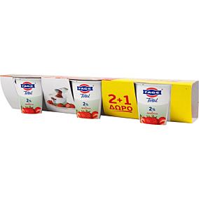 Γιαούρτι επιδόρπιο ΦΑΓΕ Total 2% λιπαρά με φράουλα 2+1 ΔΩΡΟ (3x170g)