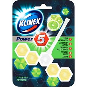 Αποσμητικό τουαλέτας KLINEX block power 5 πράσινο λεμόνι (55g)