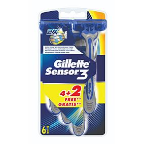 Ξυραφάκια GILLETTE sensor 3 μιας χρήσης 4+2ΔΩΡΟ (6τεμ.)
