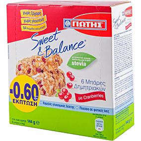 Μπάρες δημητριακών SWEET & BALANCE με cranberries (6x24g)