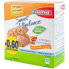 Μπάρες δημητριακών SWEET & BALANCE με μέλι και κανέλα (6x24g)
