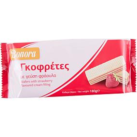 Γκοφρέτα BONORA με κρέμα φράουλα (180g)
