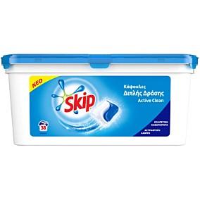 Απορρυπαντικό SKIP duo active clean πλυντηρίου ρούχων, υγρές κάψουλες (38τεμ.)