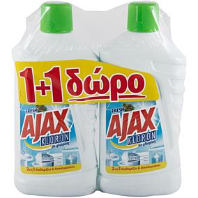 Καθαριστικό AJAX kloron regular 1+1 ΔΩΡΟ, υγρό (1lt)