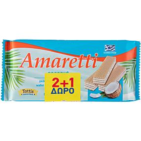 Γκοφρέτα AMARETTI με κρέμα καρύδας 2+1 ΔΩΡΟ (3x90g)