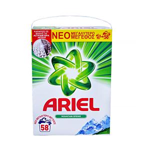 Απορρυπαντικό ARIEL Mountain Spring πλυντηρίου ρούχων, σε σκόνη (58μεζ.)