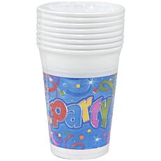 Ποτήρια PP με σχέδιο Party 200ml (8τεμ.)
