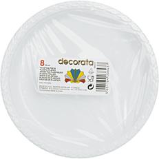Πιάτα PS πλαστικά μονόχρωμα άσπρα, μπλε, κίτρινα, κόκκινα 23cm (8τεμ.)