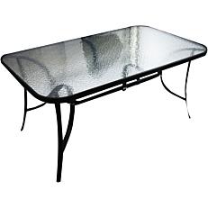 Τραπέζι μεταλλικό μαύρο με γυαλί 150x90cm