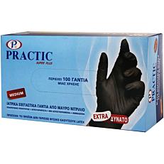 Γάντια PRACTIC μίας χρήσης νιτριλίου μαύρα, medium (100τεμ.)