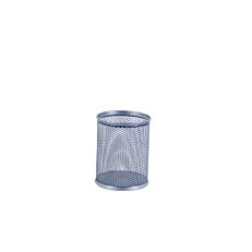 Μολυβοθήκη στρογγυλή με μεταλλικό δίχτυ, ασημένια 8x10cm