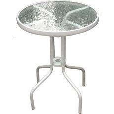 Τραπέζι μεταλλικό στρογγυλό καφέ, με γυαλί Φ70cm