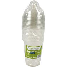 Ποτήρια πλαστικά PP με καπάκι πομπέ και καλαμάκι 400ml (10τεμ.)