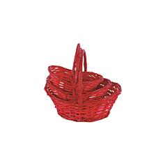 Καλάθι ψάθινο οβάλ μεγάλο κόκκινο