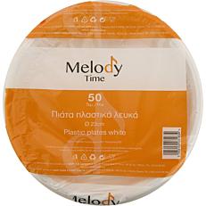 Πιάτα MELODY TIME PS πλαστικά λευκά 23cm (50τεμ.)