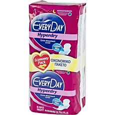 Σερβιέτες EVERYDAY Hyperdry Center Plus Maxi Night Ultra Plus με φτερά (18τεμ.)