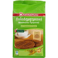 Μπισκότα ΠΑΠΑΔΟΠΟΥΛΟΥ πολυδημητριακά με 4 δημητριακά και κακάο χωρίς ζάχαρη (175g)