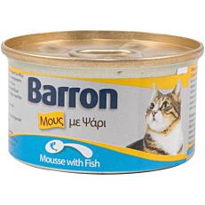 Τροφή BARRON γάτας πατέ ψαριού (85g)