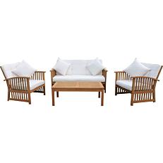 Σετ εξοχής MIMOSA GARDEN καναπές τραπεζάκι και δύο πολυθρόνες από ξύλο ευκάλυπτου