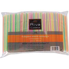 Καλαμάκια RIVA CLASSICS σπαστά πολύχρωμα συσκευασμένα 1/1 240x5mm (1000τεμ.)