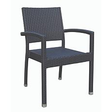 Καρέκλα RESORT LINE μέταλλο rattan στοιβαζόμενη μαύρη
