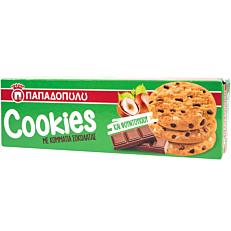 Μπισκότα ΠΑΠΑΔΟΠΟΥΛΟΥ cookies με κομμάτια σοκολάτας κα φουντουκιού (180g)